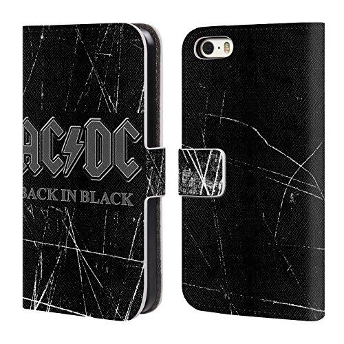 Officiel AC/DC ACDC En Arrière Dans Noir Logo Étui Coque De Livre En Cuir Pour Apple iPhone 5 / 5s / SE
