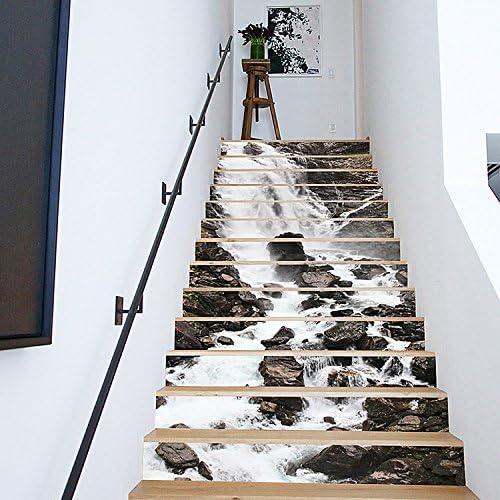 13pcs 3D cascada escalera auto - adhesivo pegatinas de pared adhesivos decorativos DIY Art Mural escaleras desmontables, pegatinas de vinilo: Amazon.es: Hogar