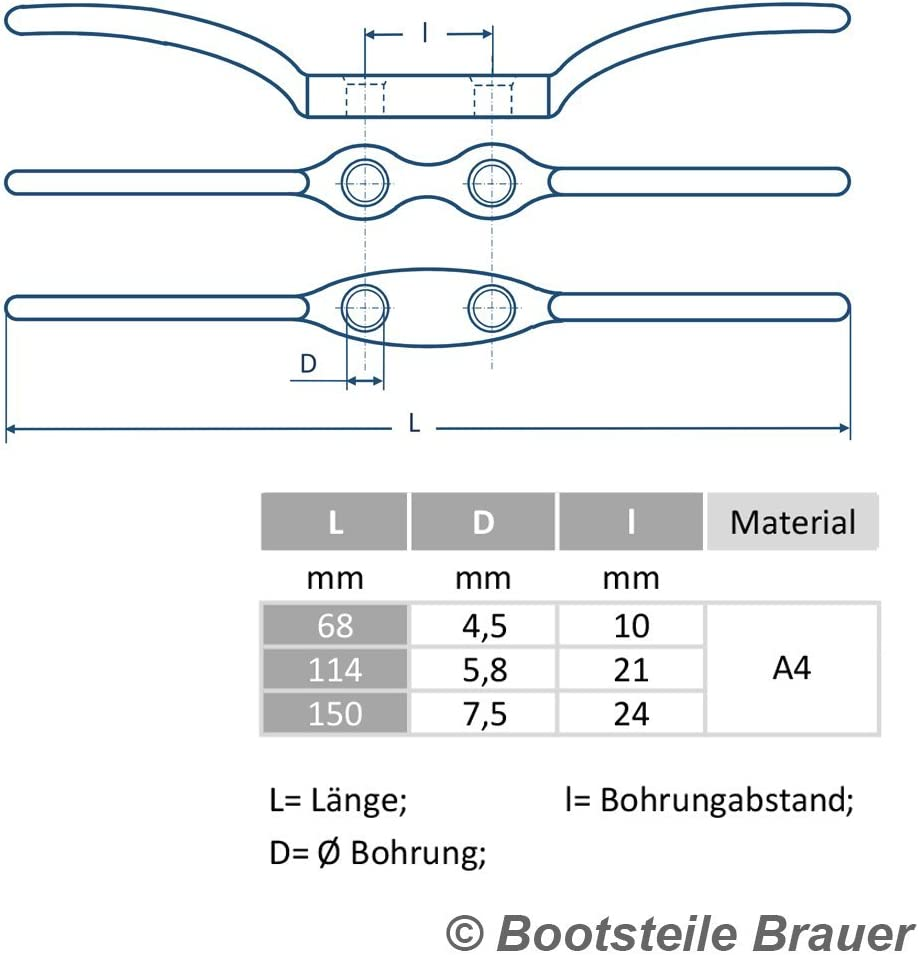 5 St/ück Flaggenklampe 68 mm Edelstahl A4 AISI 316