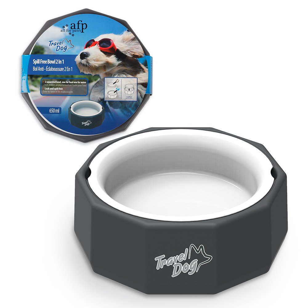 Afp Dog Travel Bowls Cat Dish Food & Water Spill Free Feeder Set 2 In 1 650ml