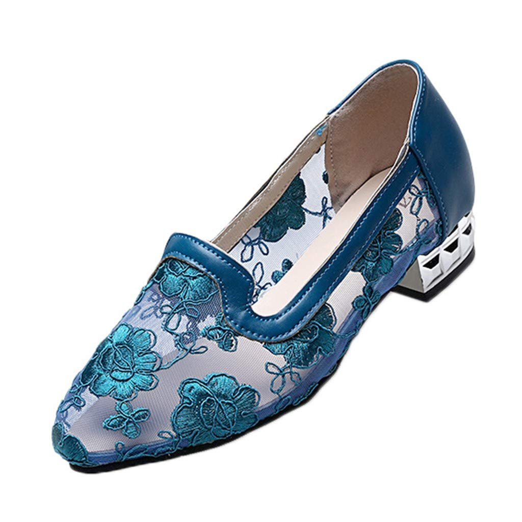 Women Girls Floral Lace Mesh Dance Shoes Comfy Low Heel Pointed Toe Breathable Single Shoes Vintage Casual Sandals Shoes (Blue, 6.5 M US) by Swiusd Shoes
