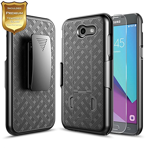 Cheap Cases Galaxy J3 Luna Pro Case with [Tempered Glass Screen Protector] NageBee Combo..