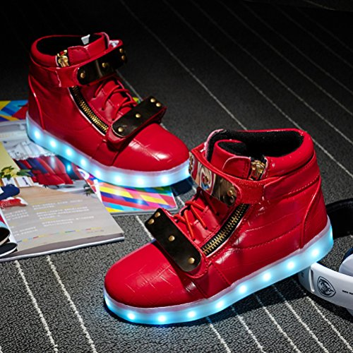 Girls Fashion Shoes Sneakers Kids LED Light LED Child Light up for Boy Sneaker Kids Adult Up Red q1nnOzRt