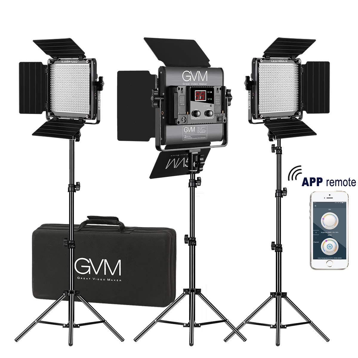 GVM 3 Pack LED Video Lighting Kits with APP Control, Bi-Color Variable 2300K~6800K with Digital Display Brightness of 10~100% for Video Photography, CRI97+ TLCI97 Led Video Light Panel +Barndoor by GVM Great Video Maker