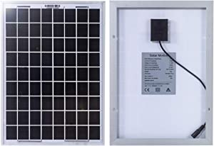 MEGSUN 10W 12V Mono Solar Panel for Motorhome, Caravan, Camper, Boat with 4.9FT Crocodile Clip Line