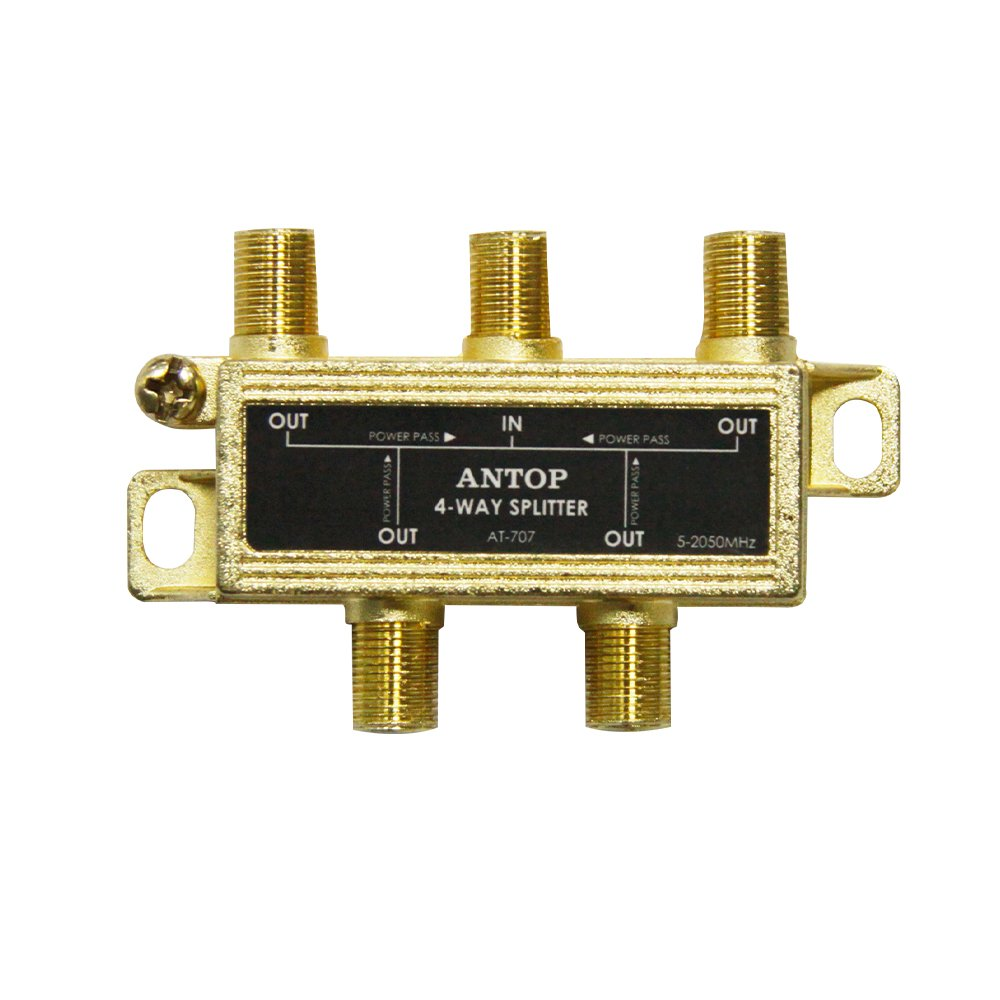 Antop 4-Way Coaxial Cable Gold Plated Splitter for Satellite TV Antenna Signals, Low-loss, All Port DC Power Passing