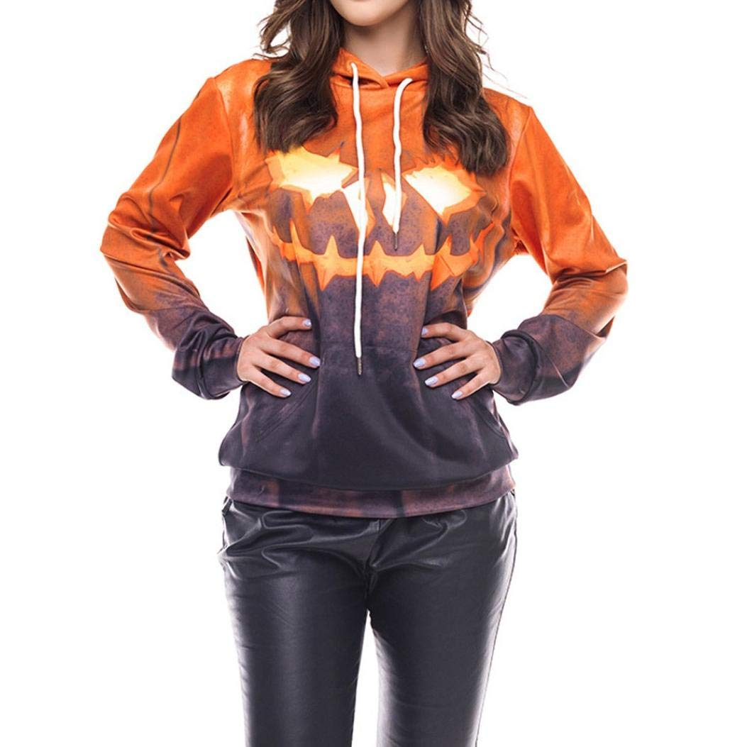 YANG-YI Hot, Women Halloween Grimace Pumpkin Party Long Sleeve Pullover Blouse Sweatshirt