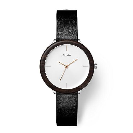 MAM Originals · Stainless Light Ebony Night | Reloj de Mujer | Diseño Minimalista | Creado con Madera de ébano sostenible y Acero Inoxidable Reciclado: ...