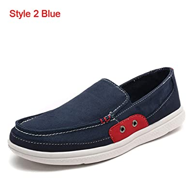 e6b1f78a21a84 Amazon.com | Men's Flat Shoes Men Casual Shoes Canvas Loafers Slip On Blue  13.5 M US | Loafers & Slip-Ons
