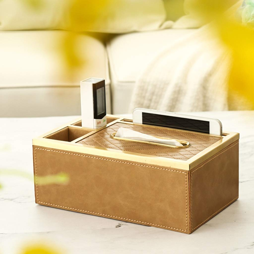 UCYG American Tissue Box Resin Tissue Holder Fashion Shape Desktop Decoration Napkins Container Bathroom Kitchen Livingroom Tissue Storage Box (Color :Gold, Green) (Color : Gold) by UCYG