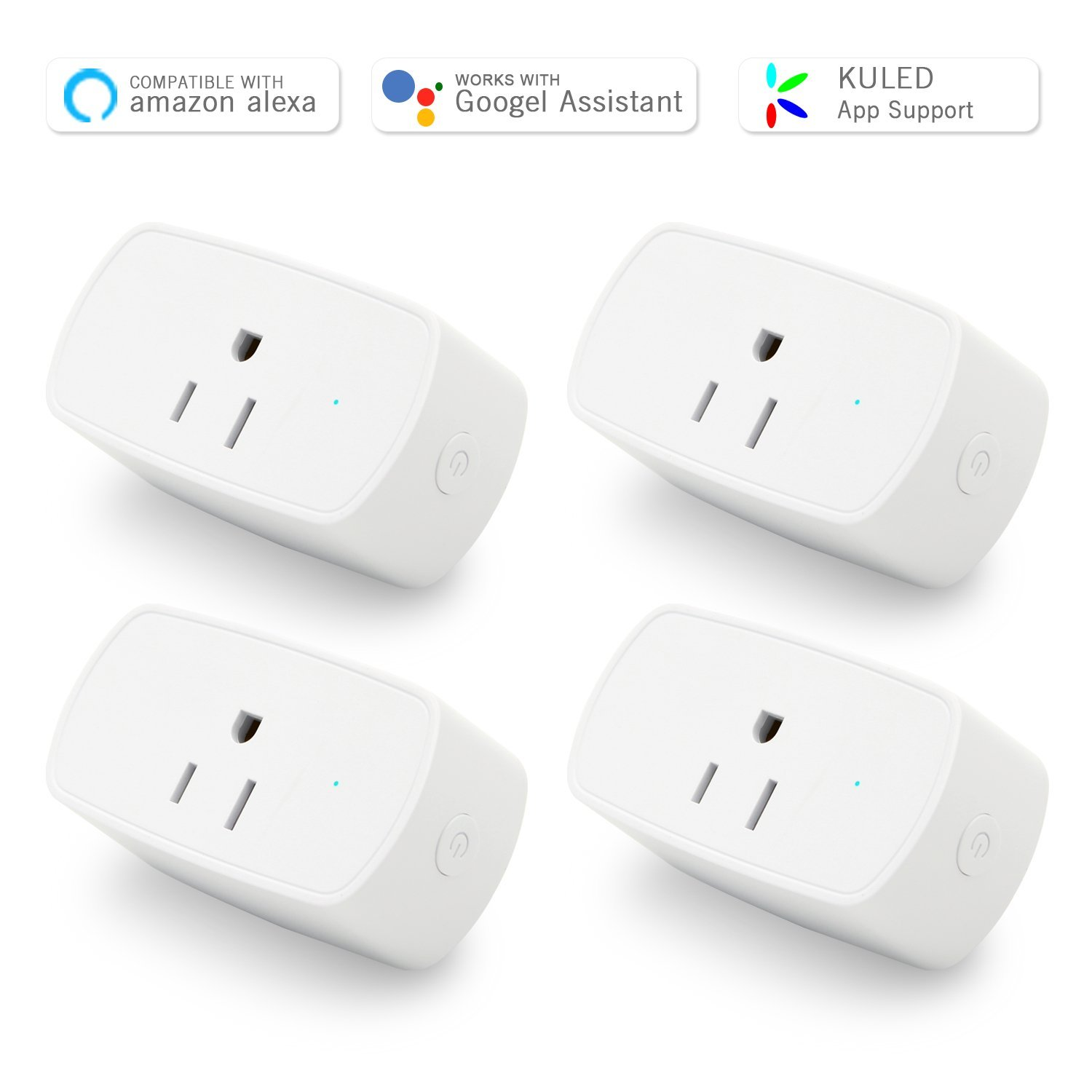Smart Plug Works with Alexa, Mini Outlet, No Hub Required, WiFi Wireless Remote Control Light Switch Socket, ETL listed White Kuled (Smart plug 4pack)