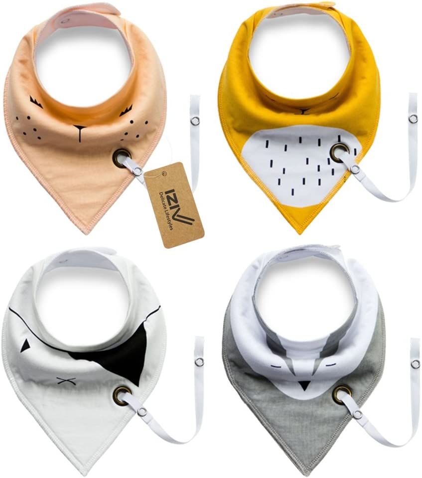 Absorbent Soft Cotton Lining 0-2 Years Color-3 iZiv 4 PACK Baby Bandana Drool Bibs with Adjustable Snaps Pacifier Clip