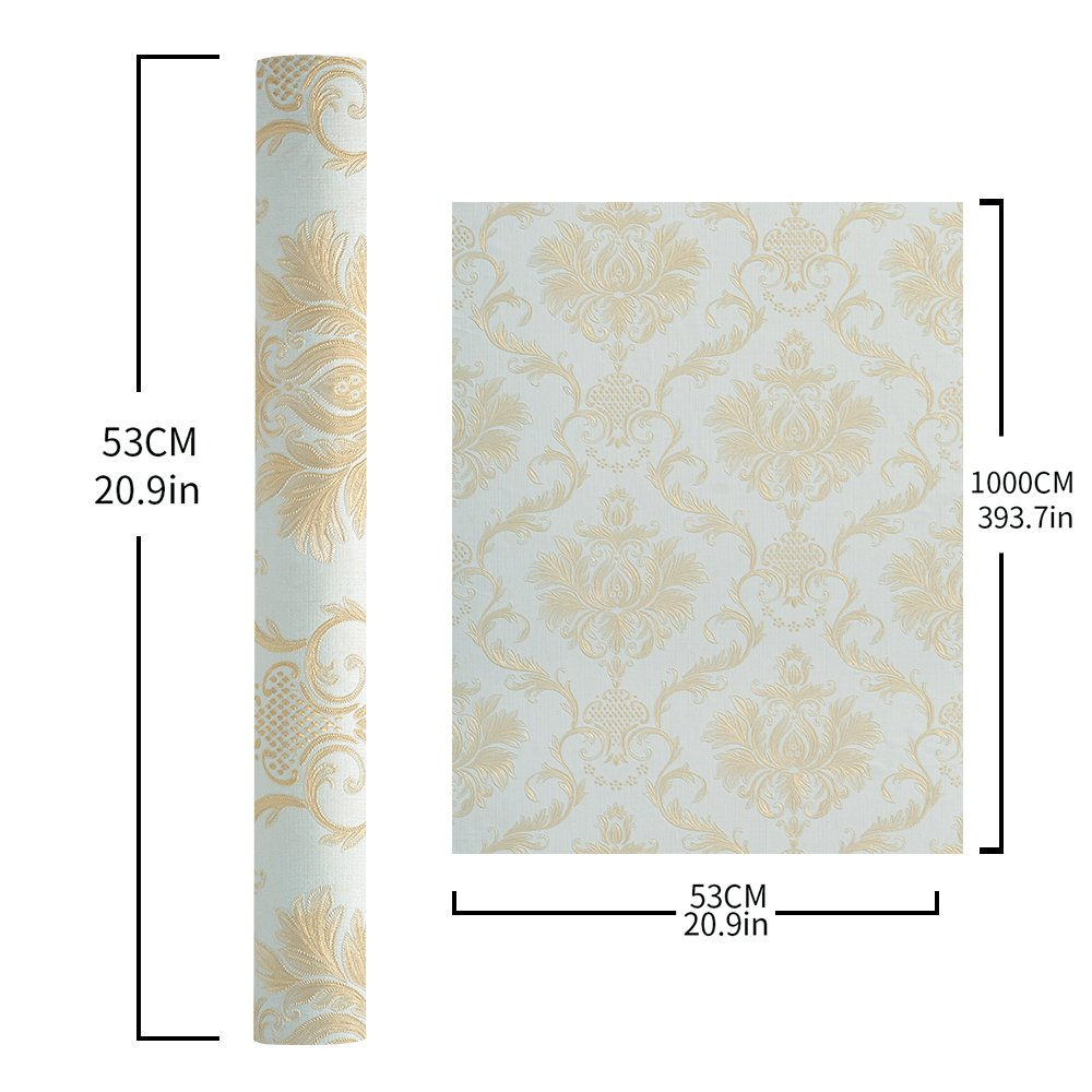 Wopeite Damask European Vintage Luxury Wallpaper Gold Embossed Textured Paper Non-Woven Home Decor for Living Room Bedroom TV Backdrop light Blue by Wopeite (Image #7)
