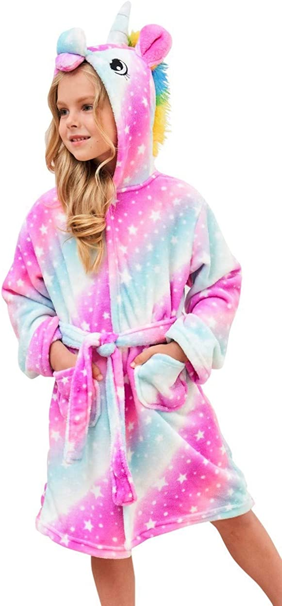 Soft Unicorn Hooded Bathrobe with Summer Water Shoes Slippers for Girls
