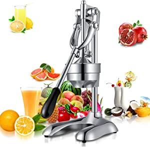 XYWN Orange Juicer Manual Stainless Steel Chrome Citrus Hand Press Fresh Fruit Squeezer Fast Easy Professional Juice Extractor