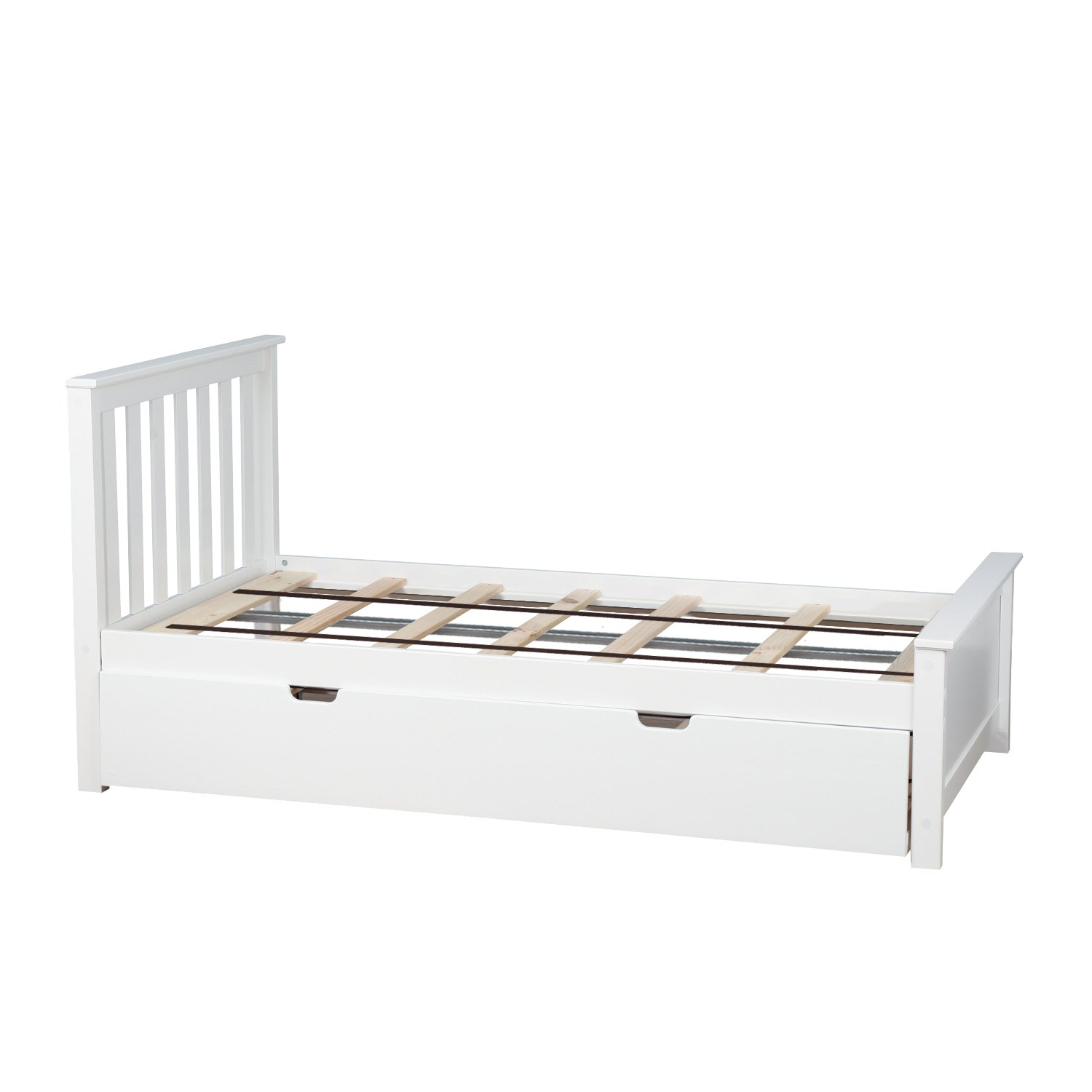 Max & Lily Solid Wood Twin-Size Bed with Trundle Bed, White by Max & Lily