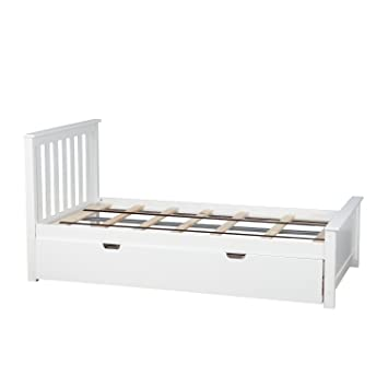 Amazon.com: Max & Lily Solid Wood Twin-Size Bed with Trundle Bed ...