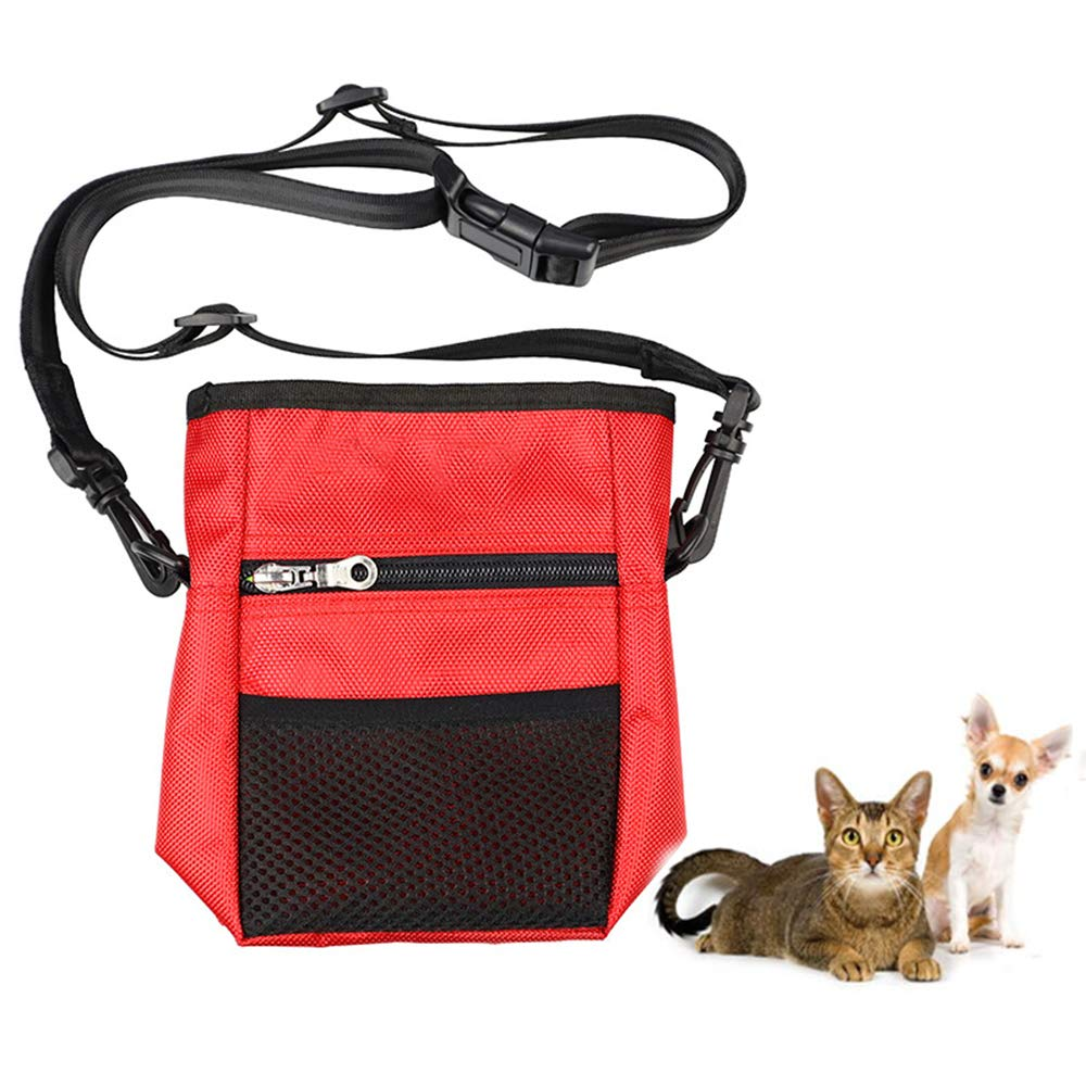 Dog Treat Pouch, Dog Training Pouch Bag with Waist Shoulder Strap, Built in Dog Waste Bag Dispenser, Easy to Clean, 3 Ways to Wear