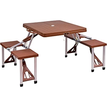 Amazoncom Outsunny Person Wooden Portable Compact Folding - Folding picnic table bench seat combination