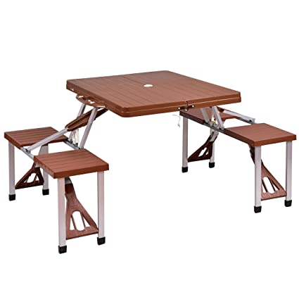 Giantex Portable Folding Picnic Table With Seating For 4 Garden Party  Camping Time Design (Brown
