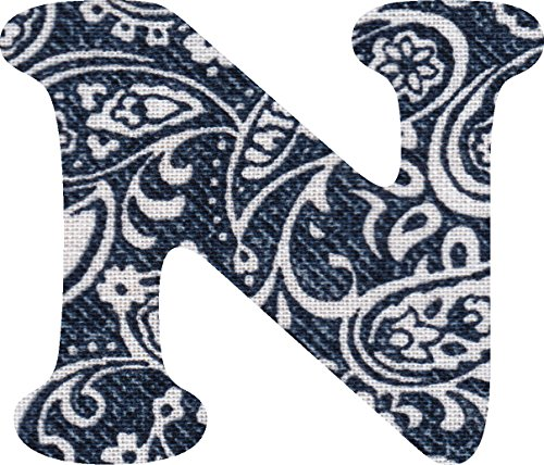 ペイズリー柄 生地 アルファベット N アップリケ ネイビー アイロン接着可能 大文字 7cmの商品画像