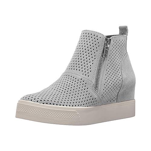 newest ed44c 7aa76 Plateau Sneaker Damen Keilabsatz Schuhe Wedge Stiefeletten Leder  Reißverschluss Elegant 5cm Schwarz Rosa Beige Braun Gr.34-43