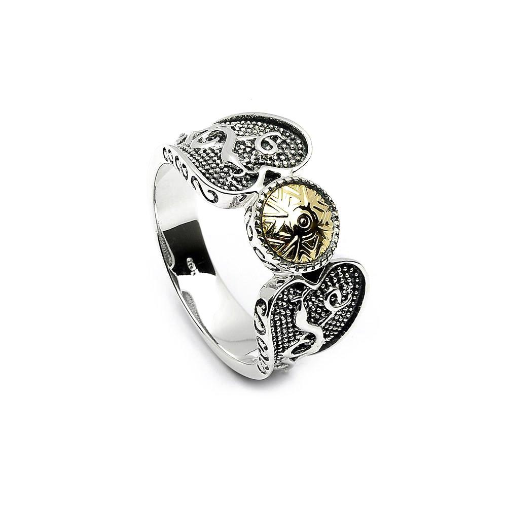 Celtic Warrior Ring Sterling Silver & 18K Bead Irish Made Sz 7