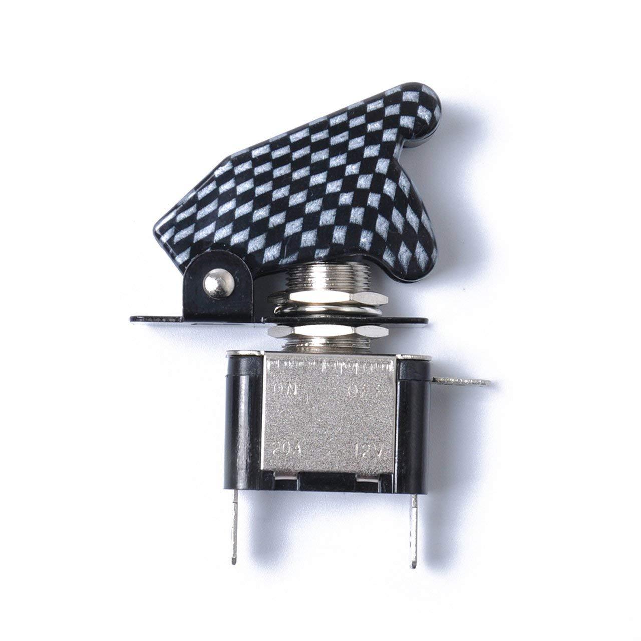 Jasnyfall Argento DC12V 20A LED Illuminato Interruttore a levetta Interruttore a levetta ON//off LED Blu Interruttore a levetta con chiavistello