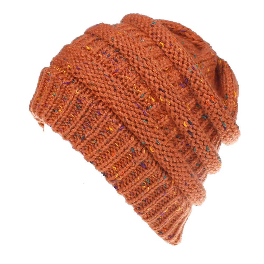 Emerayo Women Hats Fashion, Baggy Warm Crochet Winter Wool Knit Beanie Slouchy Caps Emerayo Hat for Women Cancer Biege