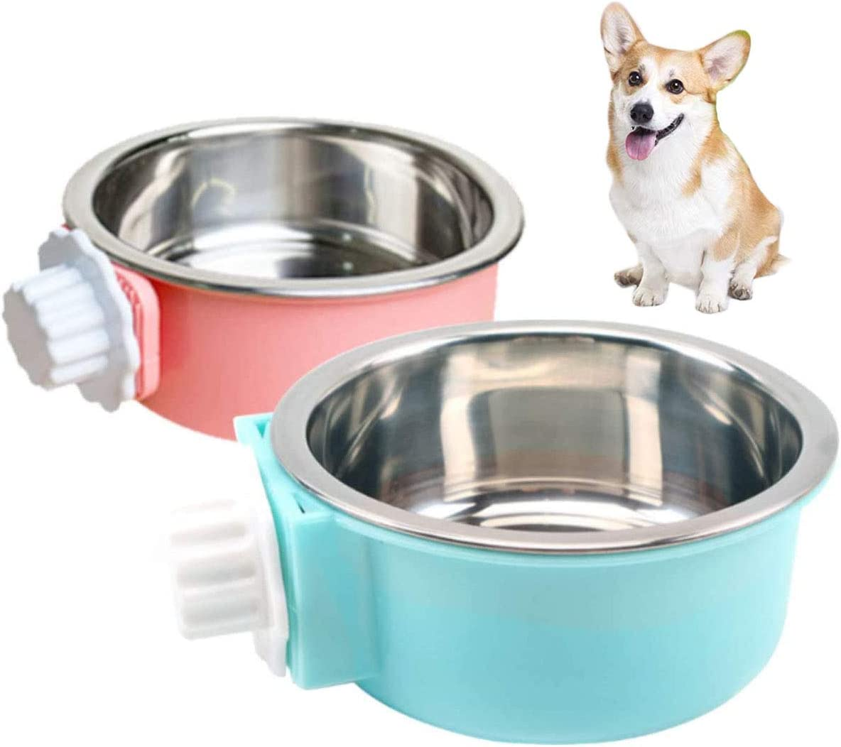 MCJS 2 Pcs Dog Crate Water Bowl No Spill, Stainless Steel Removable Food Bowl Crate Bowls, Water Bowl for Dog Crate Hanging Pet Cage Bowl Food Water Feeder Coop Cup for Cat Puppy Birds Pets