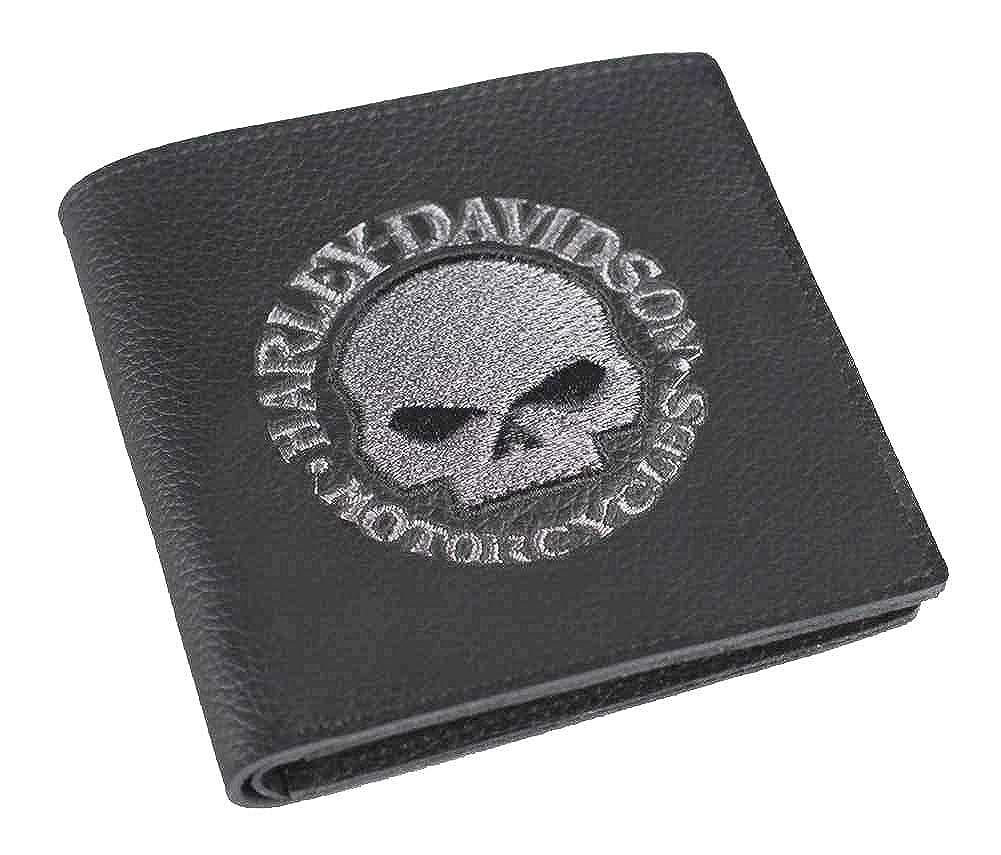 Harley-Davidson Men s Embroidered Skull Tall Bi-Fold Wallet d6eecab80a0d