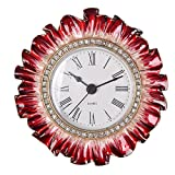 NIKKY HOME Pewter Vintage Small Quartz Table Clock 4 x 4.12 x 1.37 In, Red Flower