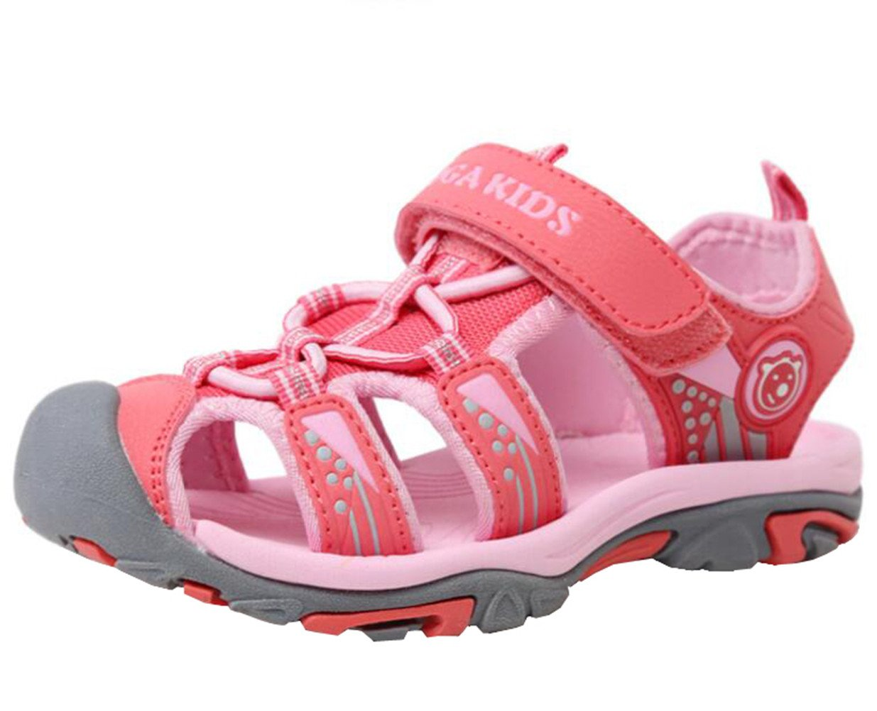 DADAWEN Boy's Girl's Outdoor Athletic Strap Breathable Closed-Toe Water Sandals (Toddler/Little Kid/Big Kid) Pink US Size 1.5 M Little Kid