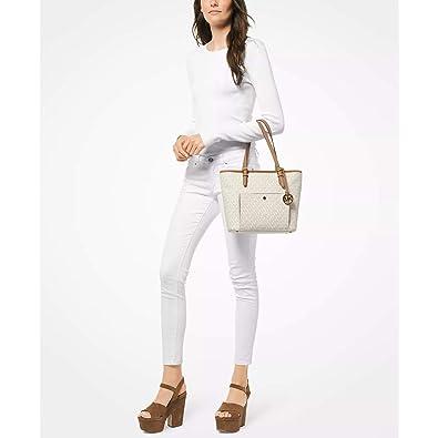 b6361c898 Amazon.com: Michael Kors Jet Set Item Medium Snap Pocket Tote Vanilla: Shoes