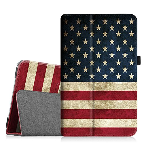 Fintie Folio Case for Samsung Galaxy Tab E 9.6 - Slim Fit Premium Vegan Leather Cover for Tab E/Tab E Nook 9.6-Inch Tablet (SM-T560/T561/T565 & SM-T567V Verizon 4G LTE Version), US Flag