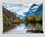 Ambesonne Nature Tapestry, Norway Mountain Range with Snowy Peaks by The Lake Fishing Nordic Northern Landscape, Wall Hanging for Bedroom Living Room Dorm, 80 W X 60 L Inches, Multicolor