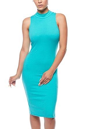 05ed632cd1d Womens Mock Neck Basic Solid Plain Sleeveless Bodycon Midi Dress 1502 (S