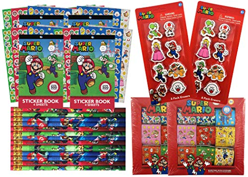 Super Mario Bros Birthday Party Favors Pack For 16 | Includes Mario And Friends Sticker Sheets, Sticker Rolls, Mario Kart Pencils, Erasers | Super Mario Party Gift Set | Video Game Party Supplies (Luigi Party Invitations)