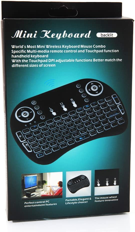 US Stock Yirind Mini i8 2.4GHz 3-Color Backlight Wireless Keyboard with Touchpad Black