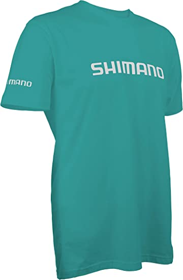 SHIMANO Short Sleeve Cotton Tee Fishing Gear, Tahiti Blue, Small ...