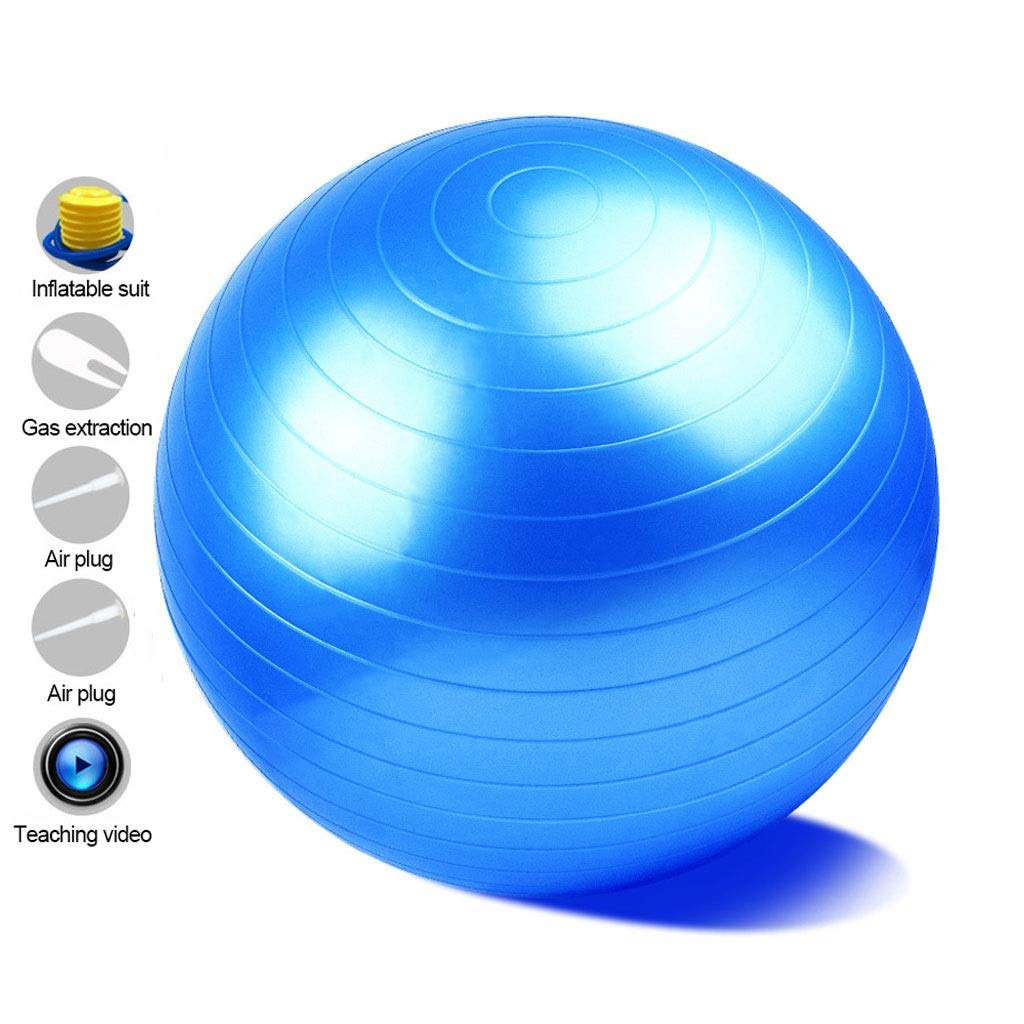 Anti-Burst Heavy Duty Gym Ball, with Pump Physical Therapy Swiss Ball Perfect for Yoga Pilates Birthing Pregnancy Core Training Workout (Office & Home & Gym) (Color : Blue, Size : 65cm) by Unknown