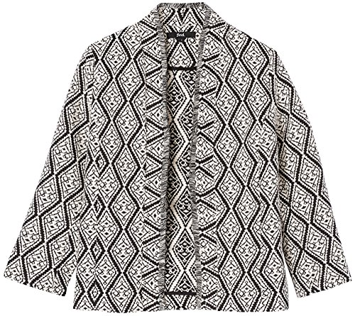 with FIND Ivory Collar Jacquard Jacket Women's Shawl Unlined Black Black wqpFaTqntx