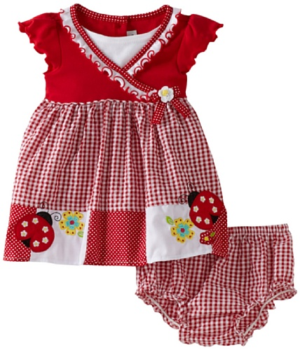 Youngland Baby Girls' Short Sleeve Ladybug Pocket Seersucker Dress With Diaper Cover