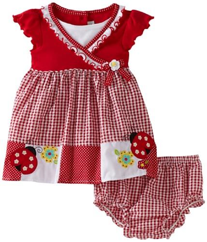 Youngland Baby Girls' Short Sleeve Ladybug Pocket Seersucker Dress With Diaper Cover