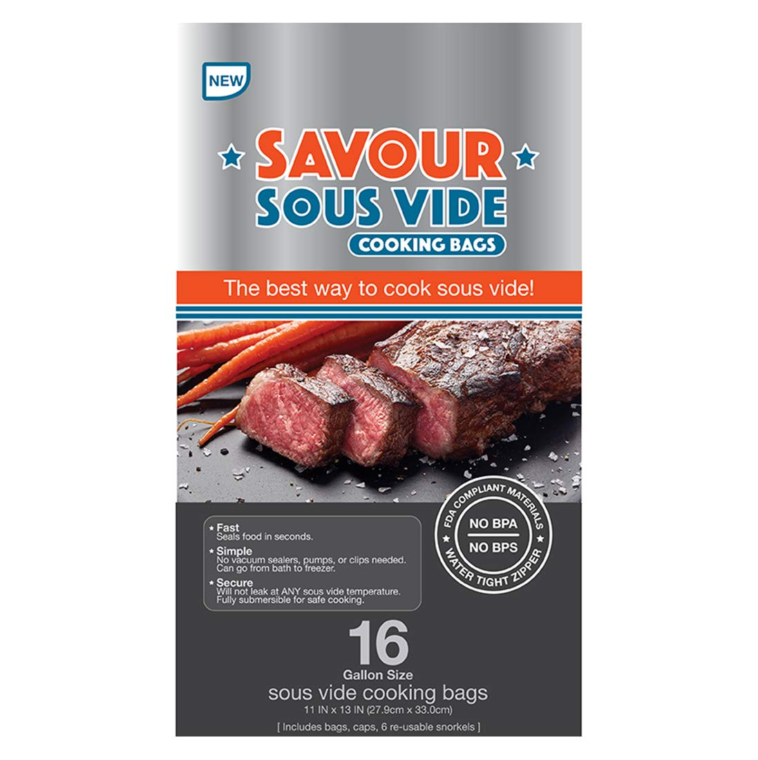 Savour Sous Vide Gallon Bag - 16 BPA Free Sous Vide Bags, Bags for All Sous Vide Cooking including Anova and Joule Cookers, Simple and Fast to Use, Water-tight Zipper, Seals in Seconds, Reusable