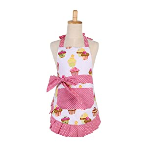 FirstKitchen Cotton Aprons for Kid Girls, Cupcake Pattern Apron for Children, Great for Daughters Litter Girls(Kid Girl)