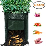 Growing Bags, Ohuhu 10 Gallon 4-Pack Durable Garden Potato Plant Bags, Upgraded PE Aeration Pots with Portable Access Flap & Handles, Soil Container Planter for Potato, Carrot, Onion Vegetables Flower