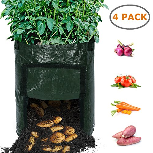 Ohuhu Grow Bags, 4-Pack 10 Gallon Durable Garden Potato Growing Bags, Upgraded PE Aeration Pots with Portable Access Flap & Handles, Soil Container Planter for Potato, Carrot, Onion Vegetables Flower