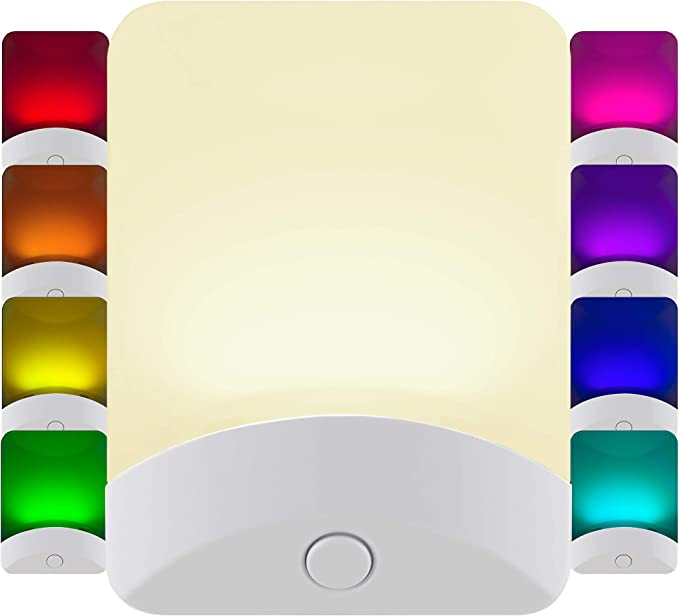 GE Color Changing LED Night Light, 8 Different Colors, Energy Efficient, Light Sensing, Ideal for Bedroom, Hallway, Stairs, Kitchen, Garage, Utility Room, Laundry Room, White Base, 34693
