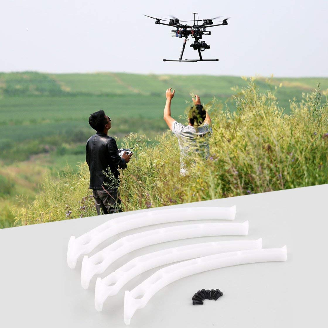 Laurelmartina dji Ruedas Tr/ípode Patines de Aterrizaje Engranaje para F450 F550 SK480 Aviones Qudcopter Tren de Aterrizaje Alto Pat/ín Tr/ípode quadrocopter